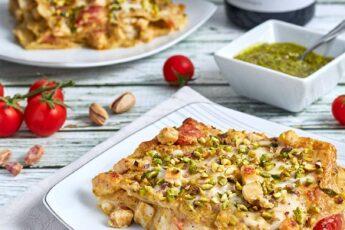 lasagne al pistacchio e pesce spada